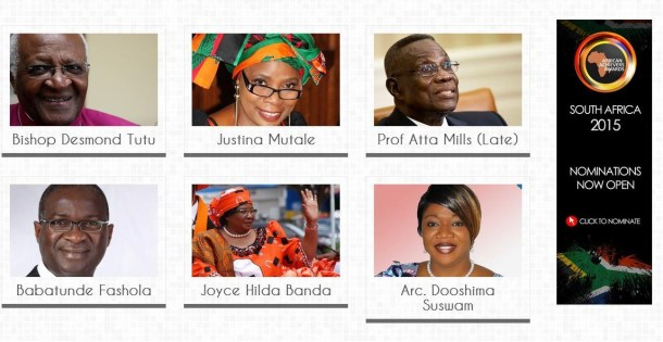 Justina  Mutale with fellow recipients of the African Achievers Award, who include The Archbishop Desmond Tutu of South Africa; The Rt. Hon. Joyce Banda, then President of Malawi; The Rt. Hon. Atta Mills, late President of Ghana; and Babatunde Fashola, Governor of Lagos State, Nigeria