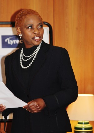 Justina Mutale addressing the WOMEN4AFRICA Business & Leadership Summit in London, UK