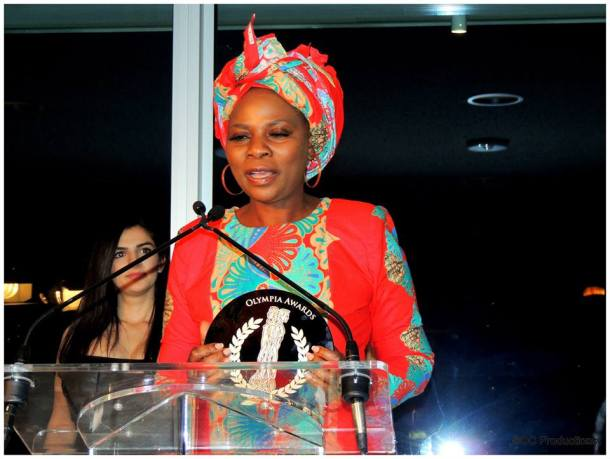 Justina Mutale receiving her Olympia Award as UK Humanitarian Ambassador, United Nations Headqurters, New York