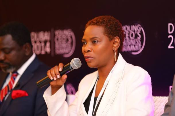 Justina Mutale addressing the Young CEO's Global Business Summit in Dubai, The United Arab Emirates