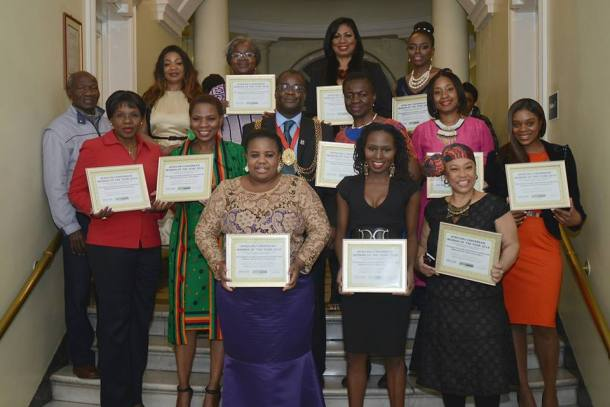 Justina Mutale with the Mayor and all the Award Recipients.