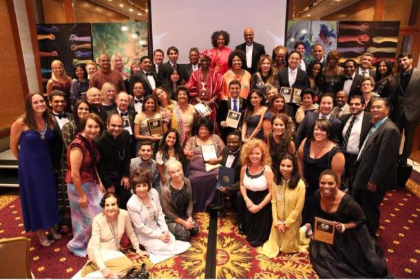 Justina Mutale in a group photo with her fellow distinguished recipients of the Global Officials of Diginity (G.O.D) Awards, which honour the greatest humanitarians in the world, at the United Nations Headquarters in New York.