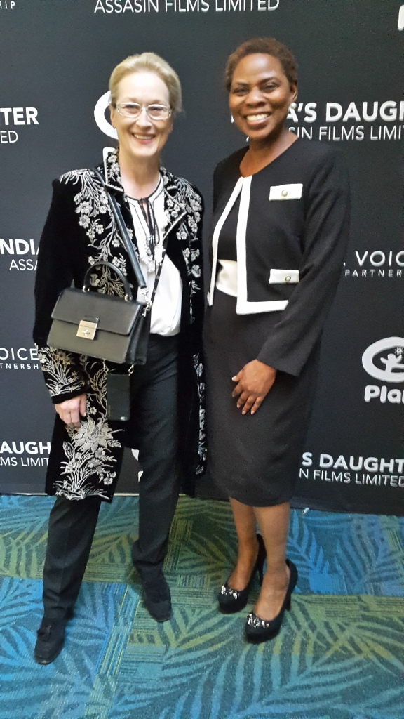 "Justina Mutale with Meryl Streep at the US Premiere of ""India's Daughter"" in New York."